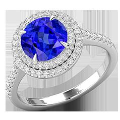 RDT777W-Inel cu Tanzanit si Diamant Dama Aur Alb 18kt cu un Tanzanit Rotund Inconjurat de 68 Diamante Rotund Briliant, Stil Halo