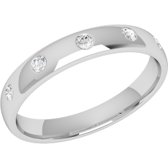 RDW001/9W - 9ct white gold 3.5mm court ladies wedding ring with five round brilliant cut diamonds in a rub-over setting