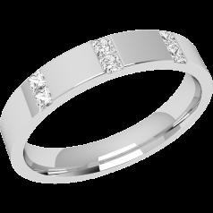 RDW002PL - Platin 3.5mm außen flach/ innen bombiert Damen Ehering mit 6 Princess Schliff Diamanten