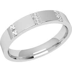 RDW002W - 18ct white gold 3.5mm flat top/courted inside ladies wedding ring with six princess cut diamonds in a rub-over setting