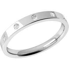 RDW003/9W - 9ct white gold 2.5mm flat top/courted inside ladies wedding ring with five round brilliant cut diamonds in a rub-over setting