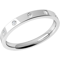RDW003W - 18ct white gold 2.5mm flat top/courted inside ladies wedding ring with five round brilliant cut diamonds in a rub-over setting