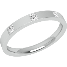 Diamond Set Wedding Ring for Women in Palladium with Three Princess Cut Diamonds in a Rub-Over Setting, Flat Top/Courted Inside, Width 2.5mm