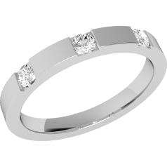 Diamond Set Wedding Ring for Women in 9ct White Gold with Three Round Brilliant Cut Diamonds in a Channel Setting, Flat Top/Courted Inside, Width 2.5mm