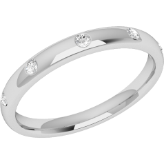 RDW006PL - Platinum 2.5mm court ladies wedding ring with five round brilliant cut diamonds in a rub-over setting