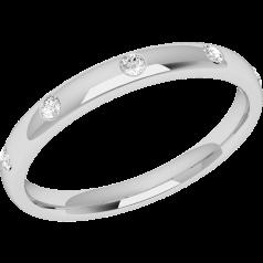 Ehering mit Diamanten für Dame in Platin mit 5 runden Brillanten in Zargenfassung, bombiertes Profil, Breite 2.5mm