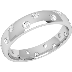 RDW007W - 18ct white gold 4.5mm court ladies wedding ring with 18 round brilliant cut diamonds going all the way around.