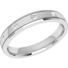 RDW008U - Palladium 3.5mm court ladies wedding ring with five round brilliant cut diamonds in a rub-over setting