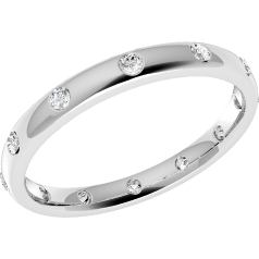 RDW010PL - Platinum 2.5mm court ladies wedding ring with 12 round brilliant cut diamonds in a rub-over setting going all the way around.