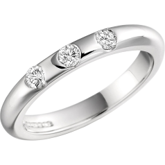 RDW011W - 18ct white gold 3mm high domed ladies wedding ring with three round brilliant cut diamonds in a rub-over setting
