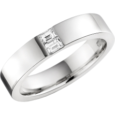 RDW012PL - Platinum 4.3mm flat top/courted inside ladies wedding ring with two baguette cut diamonds in a channel setting