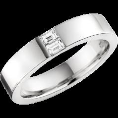 RDW012W - 18kt Weissgold 4.3mm außen flach/ innen bombiert Damen Ehering mit 2 Baguette Schliff Diamanten in Kanalfassung