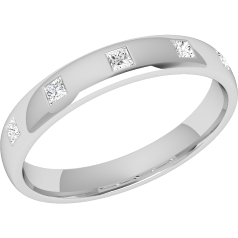 RDW013W - 18ct white gold 3.5mm court ladies wedding ring with five princess cut diamonds in a rub-over setting