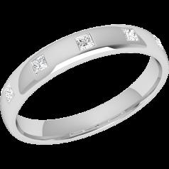 RDW013W1 - 18kt Weissgold 3.5mm bombierter Damen Ehering mit 5 Princess Schliff Diamanten in Zargenfassung