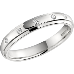 RDW014W - 18ct white gold 3.5mm court ladies wedding ring with five round brilliant cut diamonds in a rub-over setting