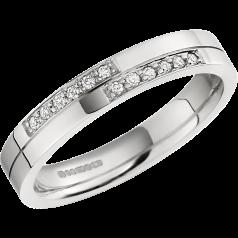 Ehering mit Diamanten für Dame in 18kt Weißgold mit 12 runden Brillanten in Pavefassung, außen flach/innen bombiert