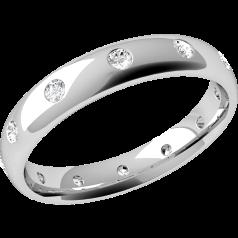 Verigheta cu Diamant Dama Aur Alb 18kt cu 12 Diamante Rotund Briliant Setate in Jurul Inelului, Profil Bombat, Latime 3.5mm in Stoc