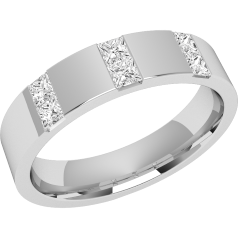 RDW017W - 18ct white gold 4.5mm flat top/courted inside ladies wedding ring with six princess cut diamonds in a channel setting