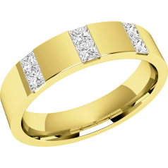 RDW017Y - 18ct yellow gold 4.5mm flat top/courted inside ladies wedding ring with six princess cut diamonds in a channel setting
