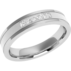 RDW026PL - Platinum 4mm court ladies wedding ring with five princess cut diamonds in a channel setting