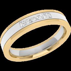 RDW026WY - 18kt aur alb și aur galben Verighetă damă bombată în interior, lăţime 4mm, cu 5 diamante tăietura princess setate în canal