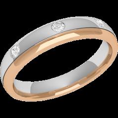 Verigheta cu Diamant Dama Aur Alb si Aur Roz 18kt cu 3 Diamante Rotund Briliant Profil Bombat, Latime 3.5mm