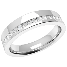 RDW042U - Palladium 4.0mm ladies wedding ring with seventeen round brilliant cut diamonds in a channel setting