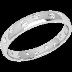Verigheta cu Diamant Dama Aur Alb 18kt cu 18 Diamante Rotund Briliant cu Setare Rub-Over Profil Bombat Latime 3.5mm