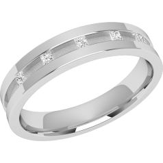 RDW045PL - Platinum 4.0mm flat top/courted inside ladies wedding ring with five princess cut diamonds in a channel setting