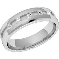 RDW049W - 18ct white gold 4.5mm court ladies wedding ring with five princess cut diamonds in a channel setting