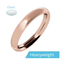 Plain Wedding Band for Women in 9ct Rose Gold, Polished, Court Profile, Heavy Weight