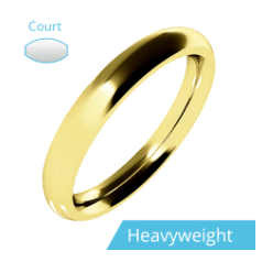 Plain Wedding Band for Women in 9ct Yellow Gold, Polished, Court Profile, Heavy Weight