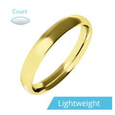 Plain Wedding Band for Women in 9ct Yellow Gold, Polished, Court Profile, Light Weight