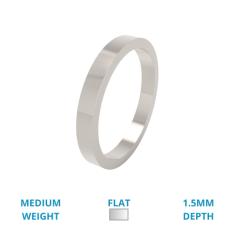RDW054W --Verighetă damă din aur alb 18kt lustruită, greutate medie, profil plat.