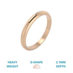 RDW055RH -18kt Roségold Damen Schwergewicht D-förmiger polierter Ehering