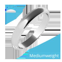Einfacher Ehering für Dame in Palladium, poliert, flaches Profil, Mittelgewicht