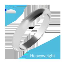 RDW055UH - Palladium Damen Schwergewicht D-förmiger polierter Ehering