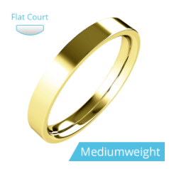 Plain Wedding Band for Women in 9ct Yellow Gold, Flat Top/Courted Inside, Polished, Medium Weight