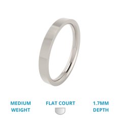 RDW056W - Verighetă damă din aur alb 18kt lustruită, greutate medie, exterior plat, interior rotunjit.