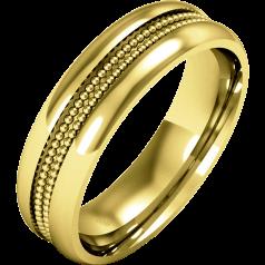 RDW058/9Y- 9kt Gelbgold Damen Schwergewicht Milgrain Ehering, mit einem polierten/gebürsteten Finish.