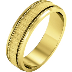 Plain Wedding Band for Women in 9ct Yellow Gold, mill-grained, heavy weight