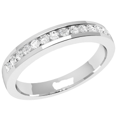 Half Eternity Ring/Diamond set wedding ring for women in 9ct white gold with 14 round brilliant cut diamonds in channel setting, court, width 2.9mm