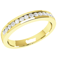 RDW061Y - 18ct yellow gold 2.9mm court eternity/wedding ring with 14 round brilliant cut diamonds in a channel setting