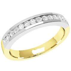 RDW061YW - 18ct yellow and white gold 2.9mm court eternity/wedding ring with 14 round brilliant cut diamonds in a channel setting