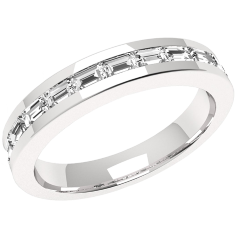 Halb Eternity Ring/Ehering mit Diamanten für Dame in Platin mit Baguette Diamanten in Kanalfassung
