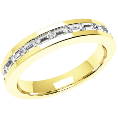 RDW062Y - 18ct yellow gold eternity/wedding ring with 12 baguette diamonds in a channel setting