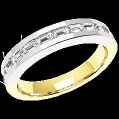 Halb Eternity Ring/Ehering mit Diamanten für Dame in 18kt Gelbgold und Weißgold mit Baguette Diamanten in Kanalfassung