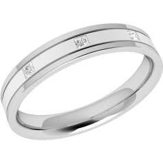 RDW065W - 18ct white gold 3.5mm flat top/courted inside ladies wedding ring with three princess cut diamonds in a rub over setting