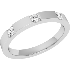 RDW066W - 18ct white gold  2.4mm flat top/courted inside ladies wedding ring with three princess cut diamonds in a channel setting