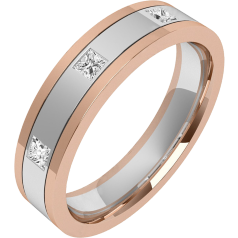 Verigheta cu Diamant Dama Aur Alb si Aur Roz 18kt cu 3 Diamante Princess, Top Plat/ Interior Rotunjit, Latime 4.5mm